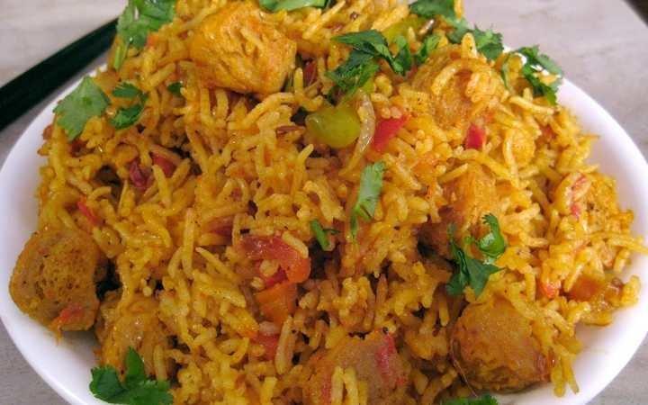 Soya Chunks Vegetarian Biryani लंच बॉक्स कुकिंग विद किड्स डिनर आइडियाज त्यौहार पार्टी
