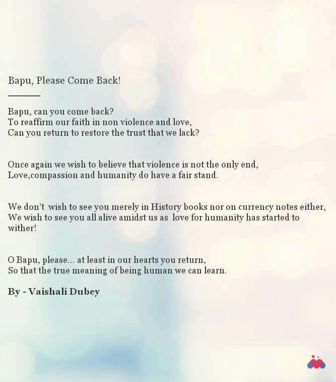 Bapu, Please Come Back! | Short story by Vaishali Dubey